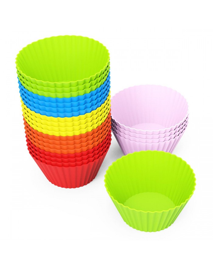 EXVI 24 Piece Silicone Baking Cups Cupcake Liners Muffin Cupcake Molds Sets - Six Vibrant Colors