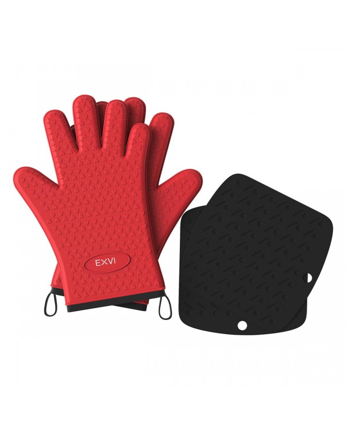 EXVI BBQ Grilling Gloves Heat Resistant Silicone & Hot Pad Set Gloves Kitchen Oven Gloves (Red)