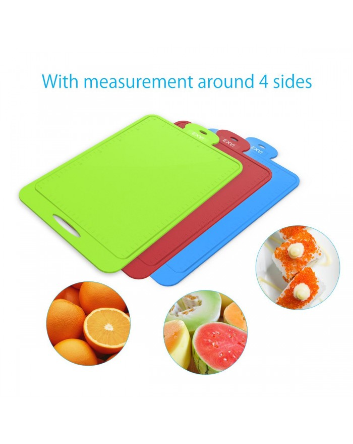 EXVI 3-Piece Silicone Cutting Boards Chopping Board Mat Flexible Nonslip Antimicrobial Thick Heat Resistant - Blue & Green & Red